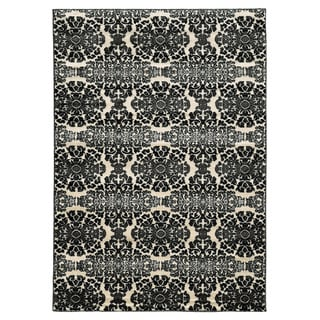 Linon Elegance Snowflakes Grey Rug (8' x 10')