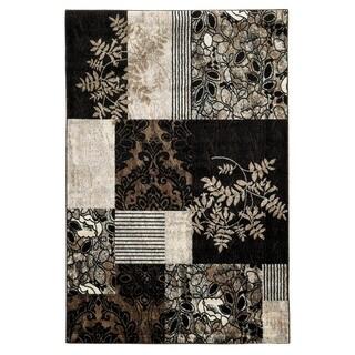 Linon Elegance Marble Black Rug (5' x 7'3-inch)