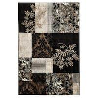 Linon Elegance Marble Black Rug (5' x 7'3-inch) - 5' x 7'3