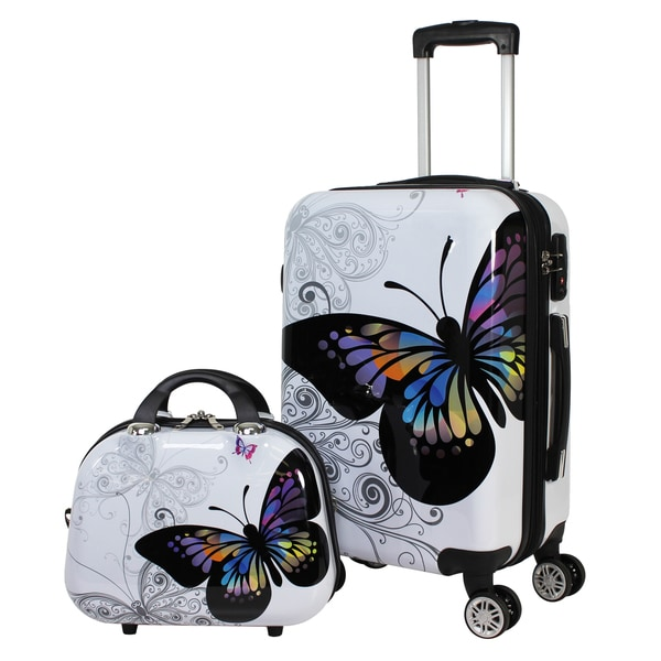 fe5c663ef60 World Traveler Butterfly 2-piece Hardside Carry-on Spinner Luggage Set