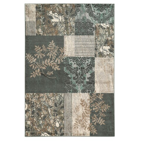 """Linon Elegance Marble Turquoise Rug (5' x 7'3-inch) - 5' x 7'3"""""""