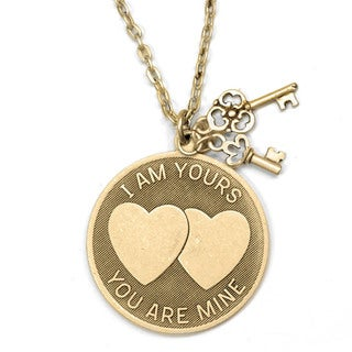 Sweet Romance 'I am Yours, You Are Mine' Engraveable Love Pendant Necklace
