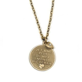 Sweet Romance French 'I Love You Even More Today' Message Necklace
