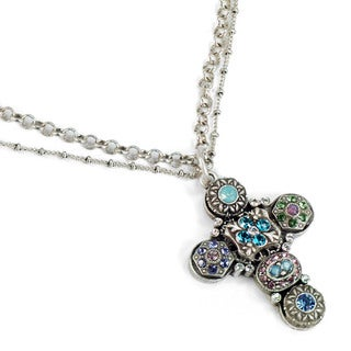 Sweet Romance Blue Lavender Crystal Victorian Cross Necklace