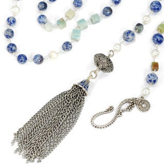 Sweet Romance Long Gemstone Bead and Silver Tassel Necklace
