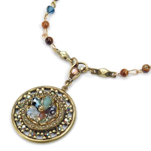 Sweet Romance Beaded Flower Medallion Boho Necklace