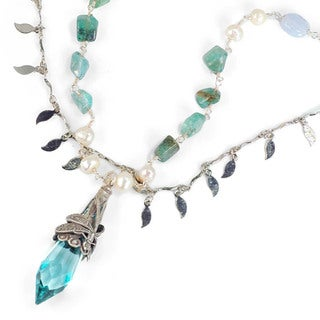 Sweet Romance Turquoise Prism and Flourite Bead Silver Dragonfly Layered Necklace