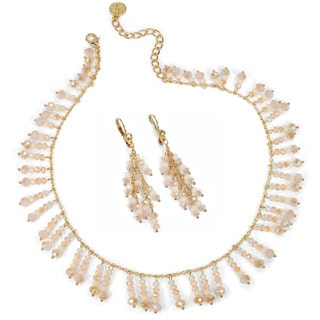Sweet Romance Pastel Beaded Fringe Necklace and Earrings Set