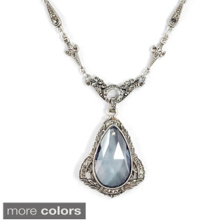 Sweet Romance Art Deco Prism Teardrop Wedding Necklace