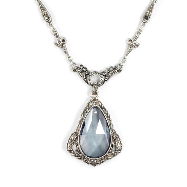 Sweet Romance Art Deco Prism Teardrop Wedding Necklace