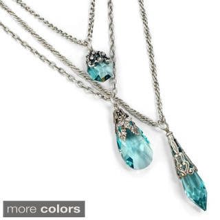 Sweet Romance 3 Strand Swarovski Crystal Prism Chain Necklace