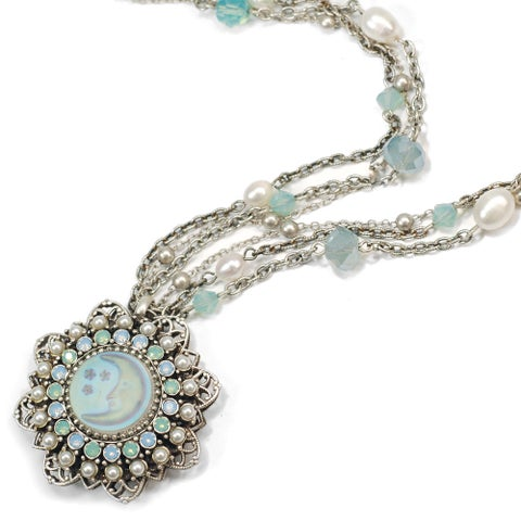Sweet Romance Vintage Aurora Opal Moon Silver Necklace