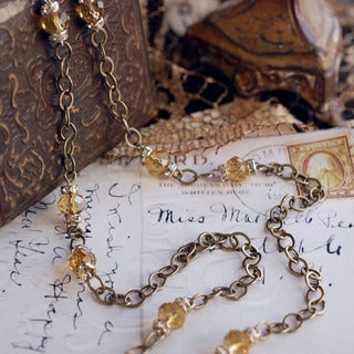Sweet Romance Delicate Chain and Crystal Beads Long Layering Necklace