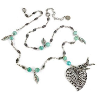 Sweet Romance Boho Leaf and Bird Aventurine Bead Pendant Necklace