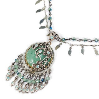 Sweet Romance Green Aventurine Silver Fringe Bohemian Necklace