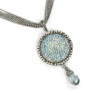 Sweet Romance Druzy Cystal Silver Pendant Necklace