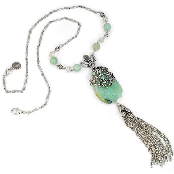 Sweet Romance Green Agate and Jasmine Flower Silver Tassel Necklace
