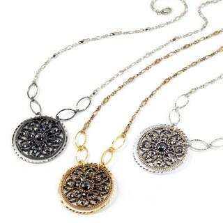 Sweet Romance Hematite Marcasite Modern Medallion Pendant Necklace