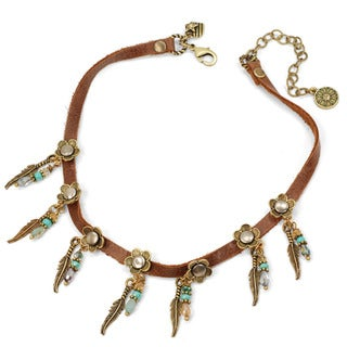Sweet Romance Retro Feather Charm Leather Choker Necklace