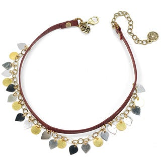 Sweet Romance Retro Gold Silver Charm Leather Choker Necklace