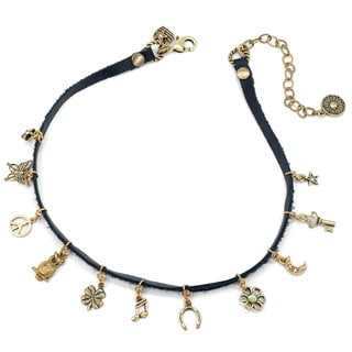 Sweet Romance Retro Hippie Charm Leather Choker Necklace