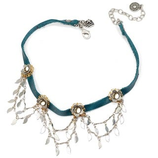 Sweet Romance Retro Flower and Feathers Charm Leather Choker Necklace
