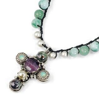 Sweet Romance Bohemian Beaded Crochet Silver Cross Necklace