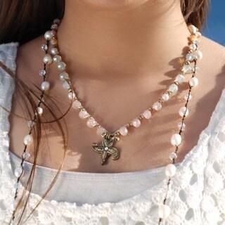 Sweet Romance Hand Beaded Boho Starfish Beach Necklace