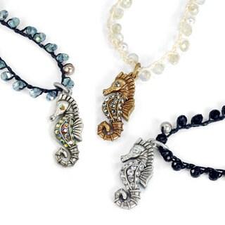 Sweet Romance Hand Beaded Boho Seahorse Beach Necklace (3 options available)