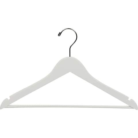 White Wooden Suit Hangers with Bar (Box of 100)