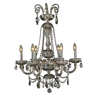 Carnivale Collection 6-light Chrome Finish and Golden Teak Crystal Chandelier