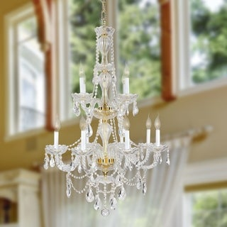 Provence Collection 12-light Gold Finish and Clear Crystal 2-tier Chandelier