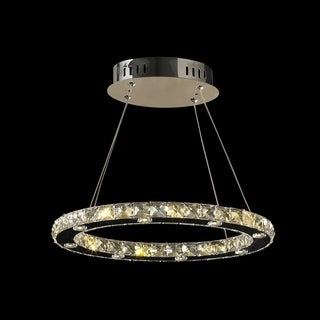 Galaxy 16 LED-light Chrome Finish Crystal Ring Oval Suspension 18-inch Chandelier