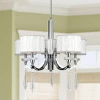 Cutlass 5-light Arm Chrome Finish & Clear Crystal Large Chandelier White Fabric Shade