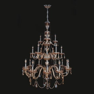 Provence Collection 21-light Chrome Finish and Amber Crystal 3-tier Chandelier