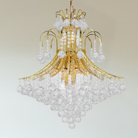 French Empire 15-light 25 inch Gold Finish Crystal Chandelier - Large Chandelier - Large Chandelier