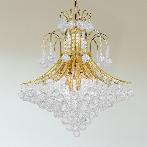French Empire 15-light 25 inch Gold Finish Crystal Chandelier - Large Chandelier - Large Chandelier. Opens flyout.