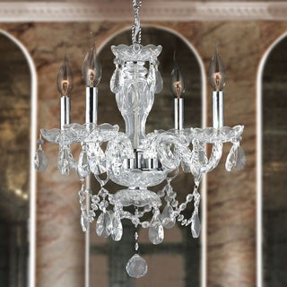 Venetian Italian Style 4-light Chrome Finish and Clear Crystal Chandelier