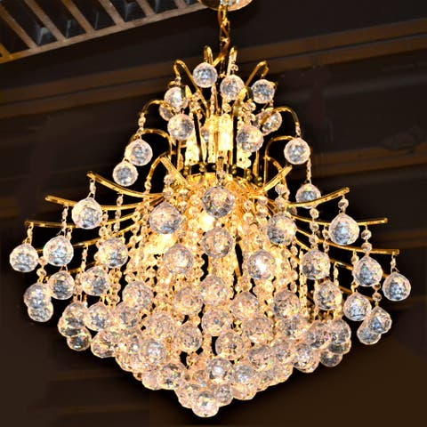 French Empire 11-light 22 inch Gold Finish and Clear Crystal Chandelier