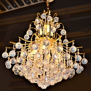 French Empire 11-light Gold Finish and Clear Crystal Chandelier