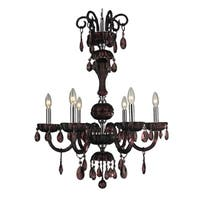 Carnivale Collection 6-light Chrome Finish and Cranberry Red Crystal Chandelier