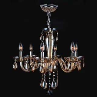 Gatsby Collection 6-light Chrome Finish and Amber Blown Glass Chandelier
