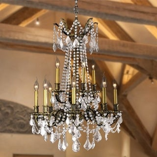 Windsor Collection 12-light Antique Bronze Finish and Clear Crystal Cast Brass 2-tier Chandelier