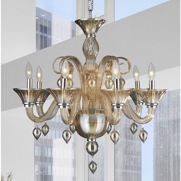 Murano Venetian Style 8 Light Blown Glass In Amber Finish 27 X Inch