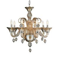 Murano Venetian Style 8-light Blown Glass in Amber Finish 27 x 27-inch Large Chandelier