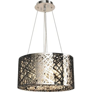 High Gloss 9 LED-light Polished Chrome Finish Clear Crystal 20-inch Round Suspension Chandelier