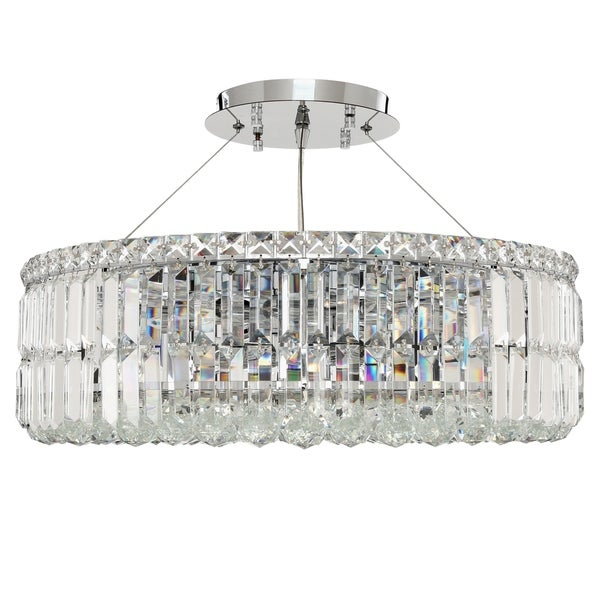 Cascade 12-light Chrome Finish Crystal 24 in. Round Circular Large Chandelier