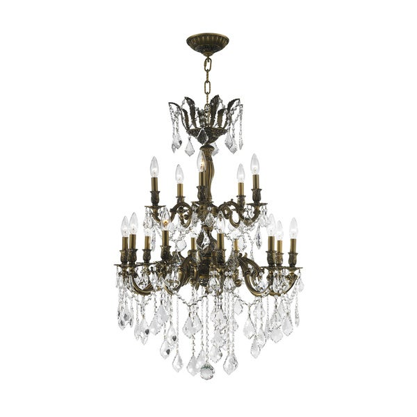 Collection 15 Light Antique Bronze Finish And Clear Crystal Chandelier