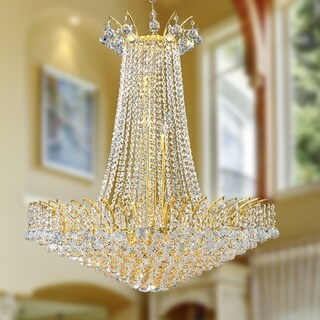 French Empire 16-light Gold Finish and Clear Crystal 29-inch Wide French Empire Chandelier
