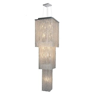Prism Collection 20-light Chrome Finish and Clear Crystal 3-tier Chandelier